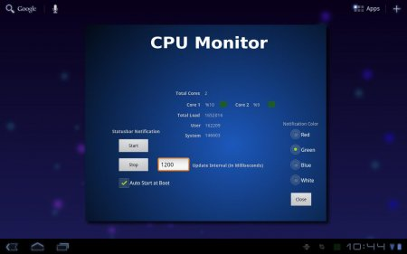 Tablet CPU Usage Monitor