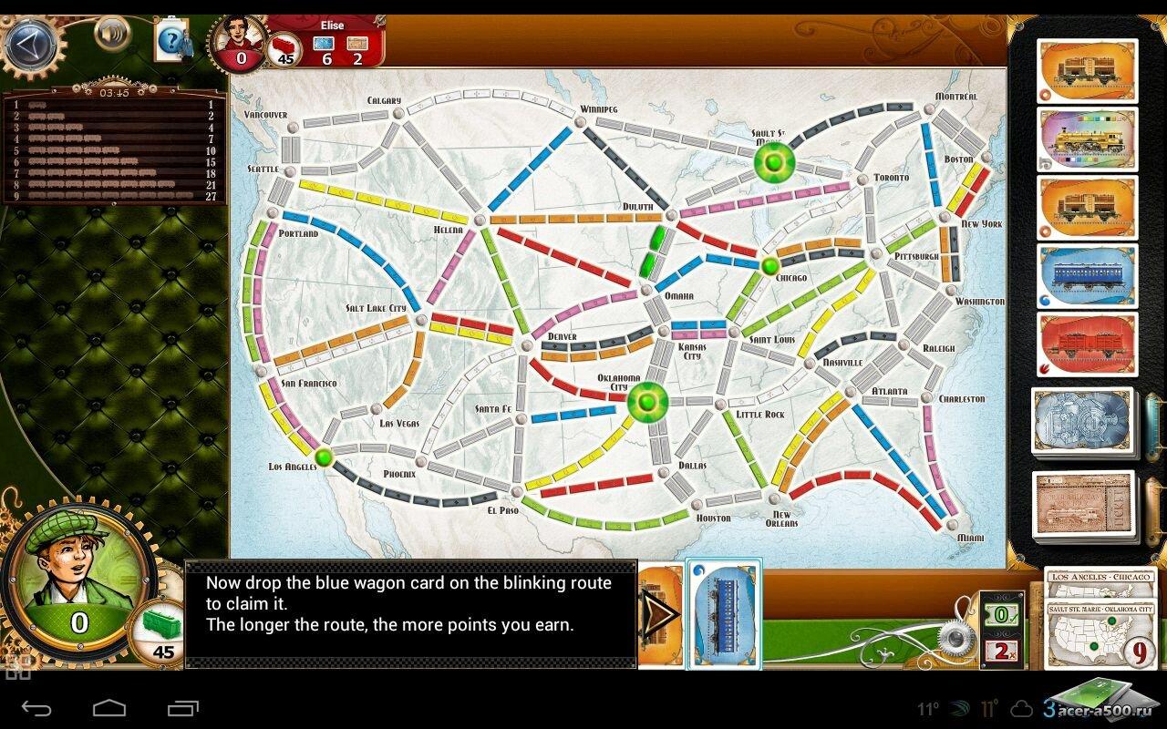 """Игра """"Ticket to Ride"""" для планшетов на Android"""